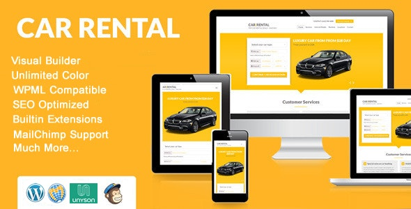 Car Rental WordPress Theme Landing Page - Business Corporate