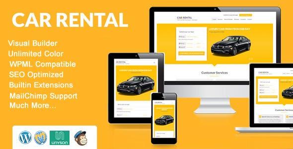 Page de destination du thème WordPress de location de voiture