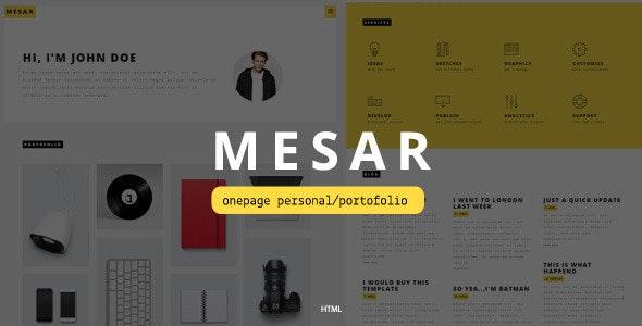 Mesar Onepage Personal/Portofolio-  - Personal Site Templates