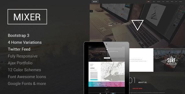 Mixer - One Page WordPress Theme - Creative WordPress