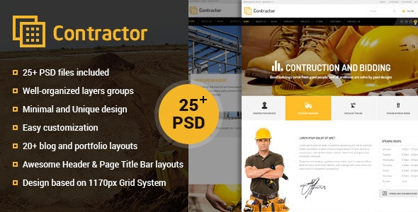 Contractor – Construction, Building Company PSD - Business Corporate