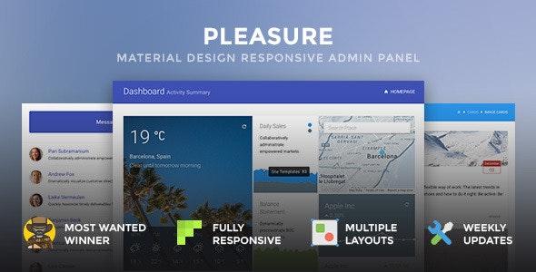 Pleasure - Material Design Responsive Admin Panel - Admin Templates Site Templates