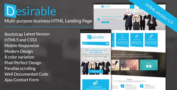 Desirable -  Business Landing Page Template - Landing Pages Marketing