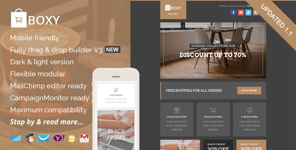 Boxy, eCommerce Email Template + Builder Access - Catalogs Email Templates