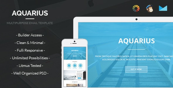 Aquarius - Corporate Email Template + Builder Access - Email Templates Marketing