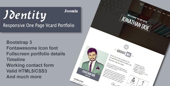 Identity - Responsive One Page Vcard Portfolio Joomla Template - Personal Blog / Magazine