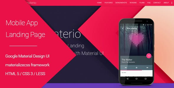 Materio - Material Design Mobile App Landing Page
