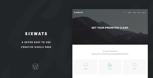 SIXWATS - An Easy To Use One Page Theme - Creative WordPress