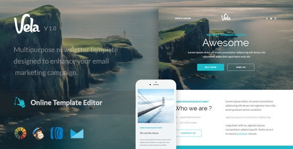 Vela - Responsive Email Template + Online Editor  - Email Templates Marketing