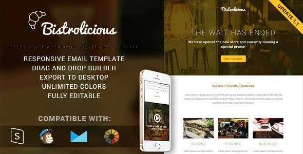 Bistrolicious - Responsive Email + Online Builder - Email Templates Marketing