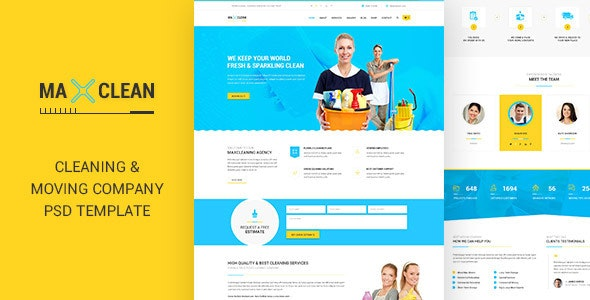 Max Cleaners & Movers - PSD Template - Business Corporate