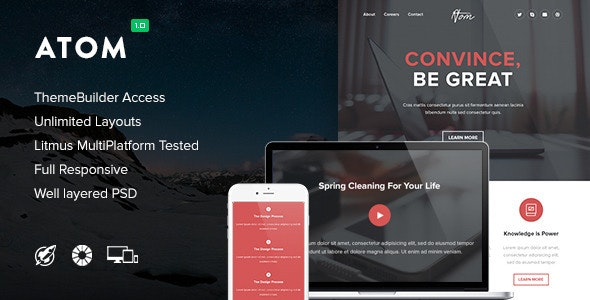Atom - Responsive Email + Themebuilder Access - Newsletters Email Templates