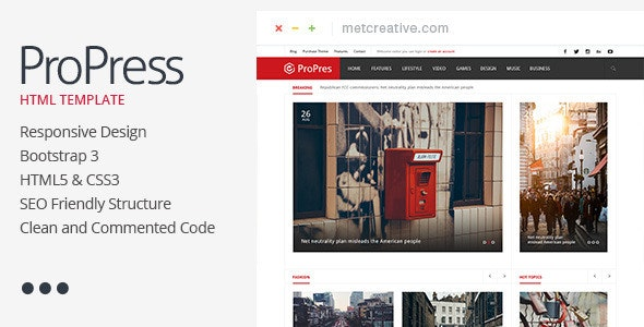 ProPress - Responsive News & Magazine Template - Entertainment Site Templates