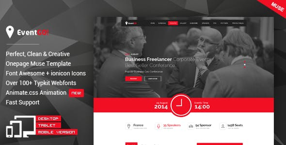 EventGO - One Page Parallax Muse Theme