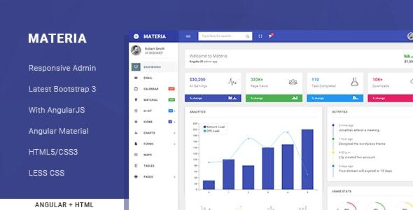 Materia - Responsive Admin Template - Admin Templates Site Templates