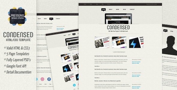 Condensed - HTML Template by Pressgrid | ThemeForest