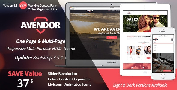 AVENDOR - One Page / Multi Page HTML Theme - Corporate Site Templates