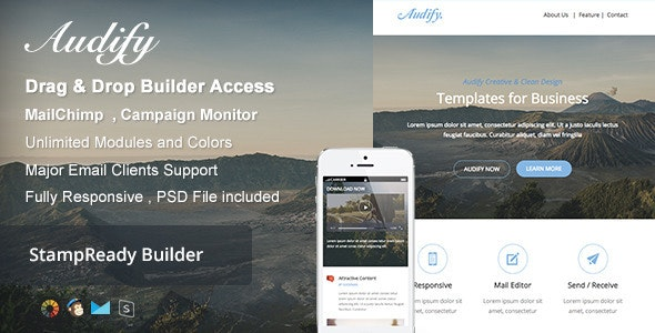 Audify - Responsive Email + Builder Online - Newsletters Email Templates