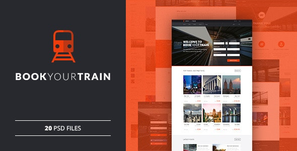Book Your Train - Online Booking PSD Template - Travel Retail