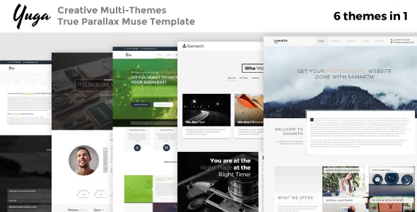 Yuga: 6-in-1 Creative Multipurpose True Parallax Muse Template