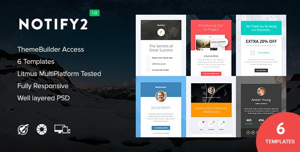 Notify2 - Notification Email + Themebuilder Access - Newsletters Email Templates
