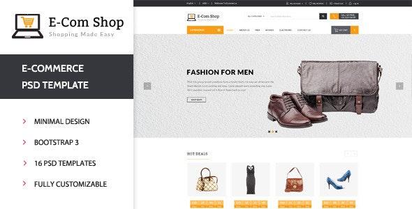 E-com Shop - eCommerce Shopping PSD Template - Shopping Retail