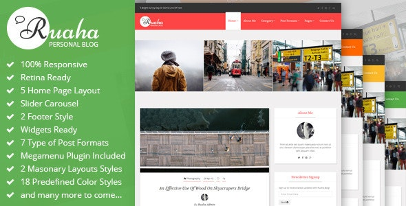 Ruaha : Personal Blog Bootstrap Template - Personal Site Templates