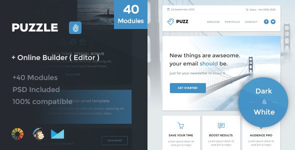 Puzzle - Responsive Email Template + Online Editor - Newsletters Email Templates