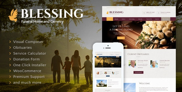 Blessing | Funeral Home Services & Cremation Parlor WordPress Theme - Business Corporate