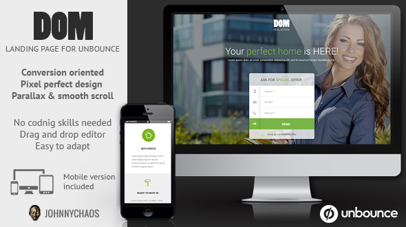 DOM - Real Estate Unbounce Landing Page - Unbounce Landing Pages Marketing