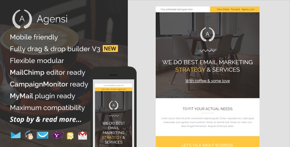Agensi, Modern Email Template with Builder - Newsletters Email Templates