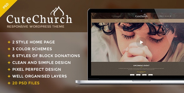 Cute Church — Charity & Religion PSD Template - Churches Nonprofit