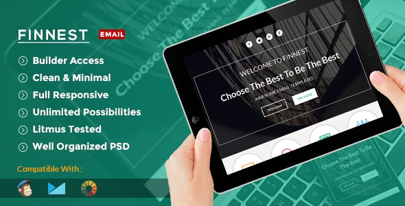Finnest - Corporate Email Template + Builder Access - Email Templates Marketing