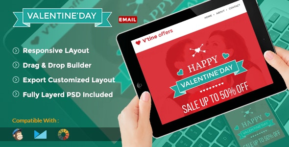 Valentine Shopping Promotion Email Template+ Online Builder Access - Newsletters Email Templates