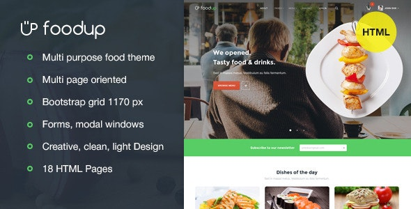 FoodUp — Food & Restaurant HTML Template - Restaurants & Cafes Entertainment