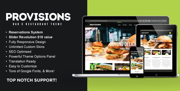 WP Provisions Restaurant & Bar WordPress Theme - Restaurants & Cafes Entertainment