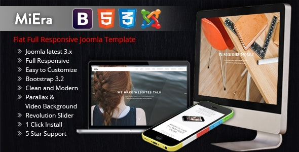 MIERA - Multi-Purpose Responsive Parallax One Page - Joomla CMS Themes