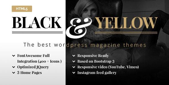 Black & Yellow HTML5 Magazine Template - Corporate Site Templates