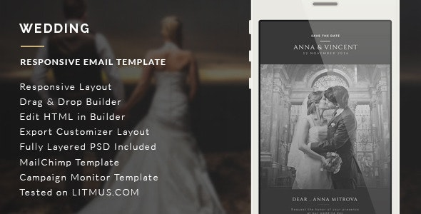 Wedding Invitation Email Template + Builder Access - Email Templates Marketing