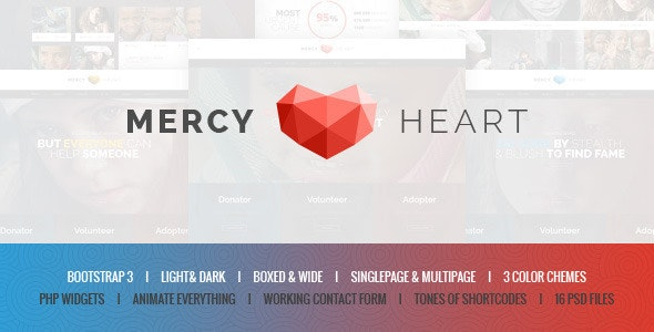 Mercy Heart - Modern Charity HTML Template  - Charity Nonprofit