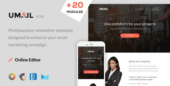 Umail - Responsive Email Template + Online Editor - Newsletters Email Templates
