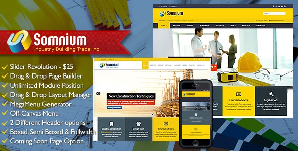 Somnium - Building Business Joomla Template - Business Corporate