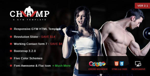 Champ - Gym, Fitness & Yoga HTML Template