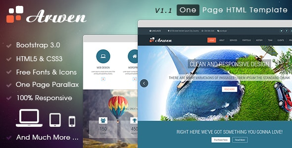 Arwen One Page HTML Template - Creative Site Templates