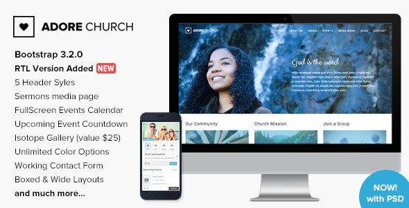 Adore Church - Responsive HTML5 Template - Nonprofit Site Templates