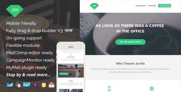 Juwita, Modern Email Template with Builder Access - Newsletters Email Templates