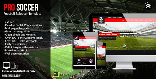 Pro Soccer - Football Team Muse Template - Miscellaneous Muse Templates