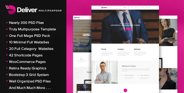 Deliver - Multipurpose PSD Template - Corporate Photoshop