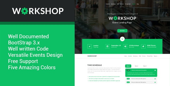 Workshop HTML5 Event Landing Template - Marketing Corporate