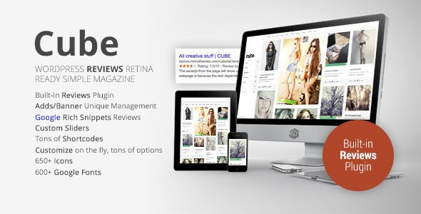 Cube, Multipurpose Simple Reviews Wordpress Magazine - News / Editorial Blog / Magazine